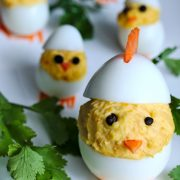 Deviled Easter Eggs - Mother hen with baby chicks | fun easter appetizer recipe | platedpalate.com