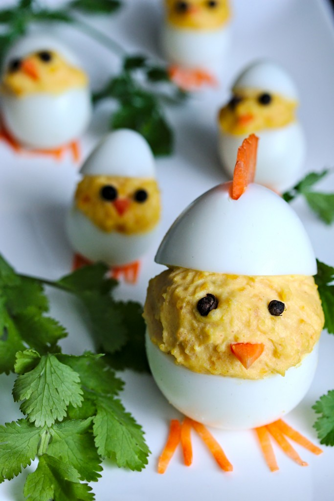 Deviled Easter Eggs - Mother hen with baby chicks   fun easter appetizer recipe   platedpalate.com